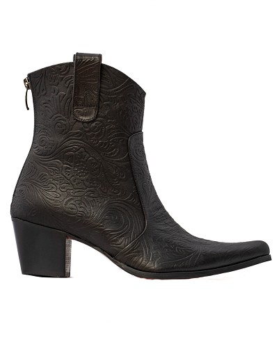 Black Tooled Bootie