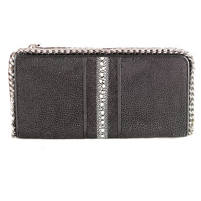 Stingray Wristlet Clutch with Chain Trim