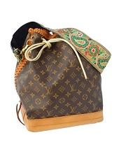 Vintage Louis Vuitton Large Tote- Gold & Navy Embroidered Strap