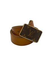 Vintage Louis Vuitton Square Buckle with Leather Belt