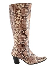 Natural Python Knee High Boots