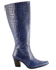 Navy Alligator Knee High Boots