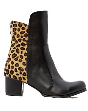 Black Leather and Leopard Bootie