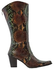 Turquoise Cowboy Boot w/ Python Design